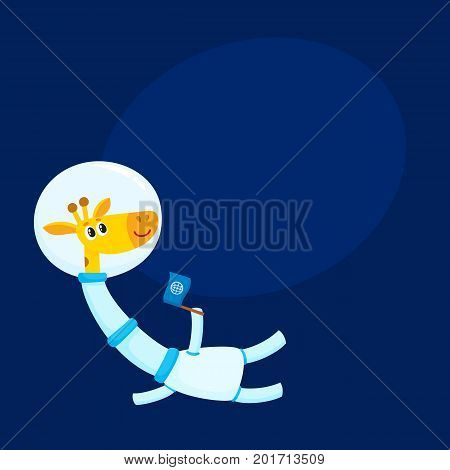 Cute giraffe astronaut, spaceman character wearing space suit, holding a flag, cartoon vector illustration with space for text. Funny giraffe astronaut, spaceman floating in open space