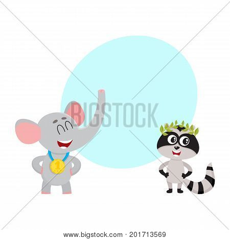 Cute elephant and raccoon characters, champions with golden winner medals, cartoon vector illustration with space for text. Baby elephant and raccoon champions who win first place medals