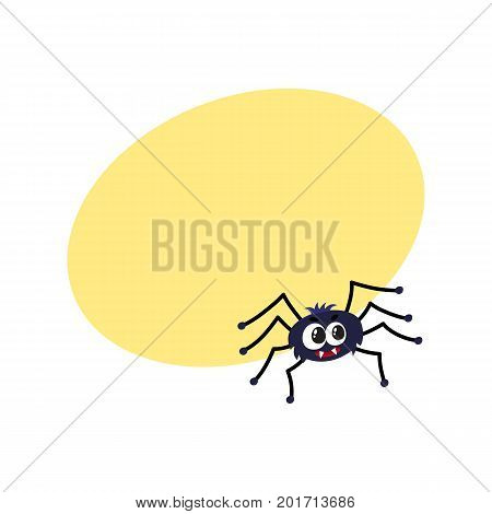 Cute and funny black spider, traditional Halloween symbol, cartoon vector illustration with space for text. Cartoon style Halloween spider with wide spread wings, cute little creature