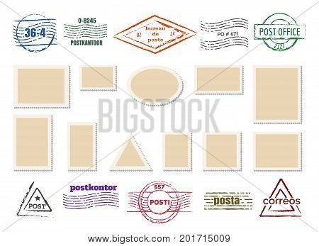 Blank postage stamp frames and post rubber mailing labels isolated on white background. Vintage postmarks with perforated borders, vector illustration