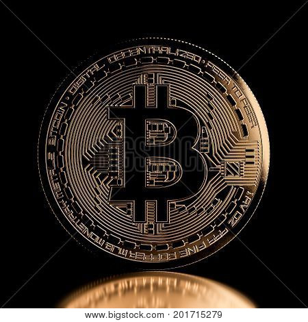 Bitcoin Front View Golden Coin
