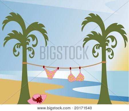 tropical fun - make sure you behave girls! vector