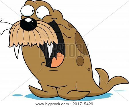 Illustration of a funny cartoon walrus with a happy expression.