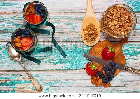 Granola With Berries Breakfast Preparation Process