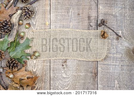 Autumn Leaves, Acorns, Pinecones And Branches On Left Border Of Rustic Wooden Planks With Burlap Ban