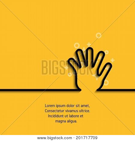 Icon of greeting hand in line art style. Outline symbol of gesture hand, palm and five fingers in circumference. Stroke mono linear pictogram. Vector banner on yellow background with sample text
