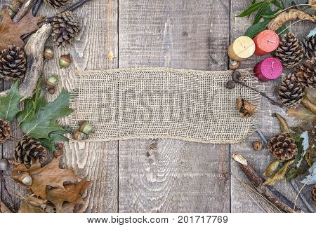 Country Burlap Banner, Blank Sign, On Rustic Wooden Background With Acorns, Pinecones, Leaves And Br