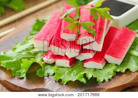 Crab Sticks Prepared For Eating
