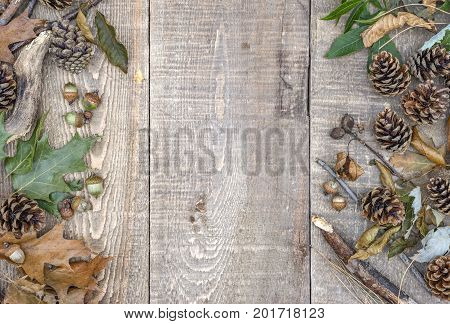 Autumn Leaves, Acorns, Pinecones And Branches On Left Border Of Rustic Wooden Planks