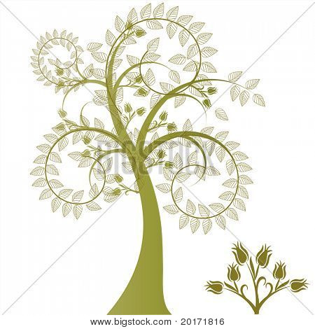 fun and funky tree with leaves over coils vector