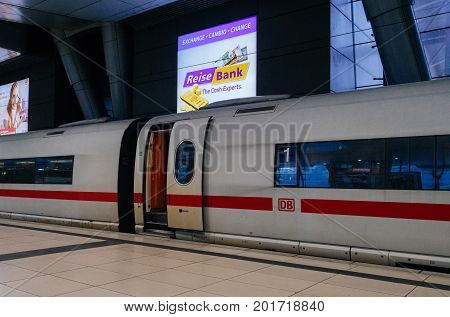 FRANKFURT GERMANY - AUG 8 2017: Frankfurt Airport Train station Air Rail terminal with open door on a super-fast ICE train waiting or passengers