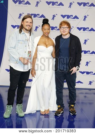 Jennie Pegouskie and Ed Sheeran at the 2017 MTV Video Music Awards held at the Forum in Inglewood, USA on August 27, 2017.