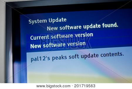 Detail of the system update software available on a modern smart TV set.
