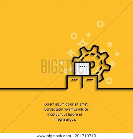 Icon of gear wheel with boxes in linear style on yellow background. Mass production, modern machinery equipment concept logo. Contour pictogram or infographic element. Vector banner