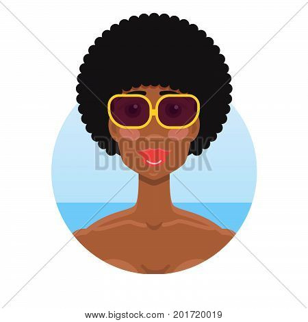 Young African American woman in sunglasses portrait in sunglasses Summer concept