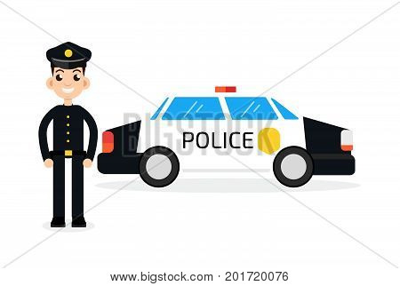 police car with policeman, cop. Vector illustration