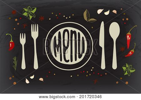 Spices on dark  board with lettering menu . Vector illustration .