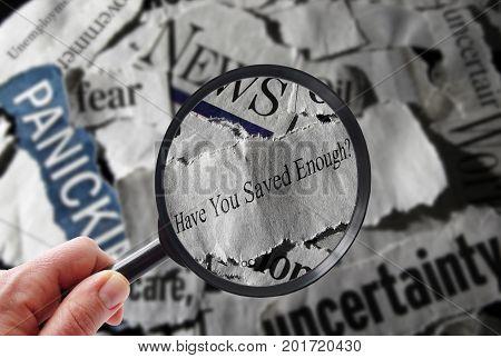 Retirement savings news headline and magnifying glass