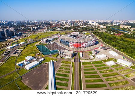Moscow, Russia - August 21, 2017: Aerial view of Spartak Stadium (Otkritie Arena). Spartak Stadium has been selected for the 2018 FIFA World Cup.