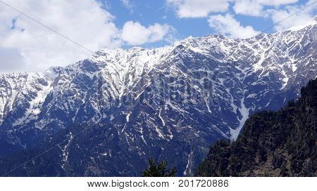Snow clad mountains in the region of north india