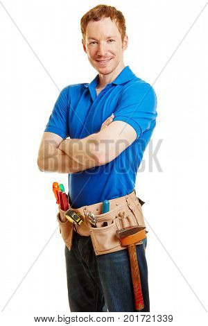 Man with a tool belt as a hadyman smiling content