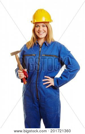Smiling construction worker with helmet and tools