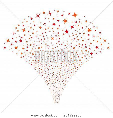Source of confetti stars symbols. Vector illustration style is flat intensive red and orange iconic symbols on a white background. Object source constructed from random icons.