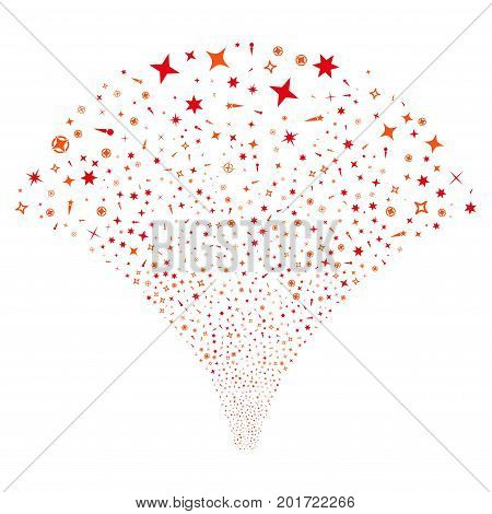 Source stream of confetti stars icons. Vector illustration style is flat intensive red and orange iconic symbols on a white background. Object source done from scattered pictograms.