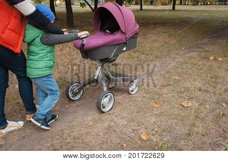Mother walking with a baby pram - stroller, carriage - in the park. Autumn nature background. Love and family concept.