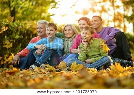 Big family sitting on ground in autumnal park