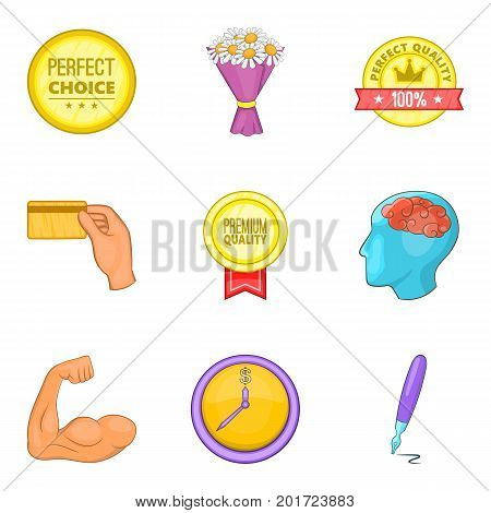 Perfect choice icons set. Cartoon set of 9 perfect choice vector icons for web isolated on white background