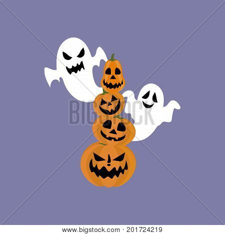 Jack-o-lantern pumpkin and ghost on the purple background. Vector illustration