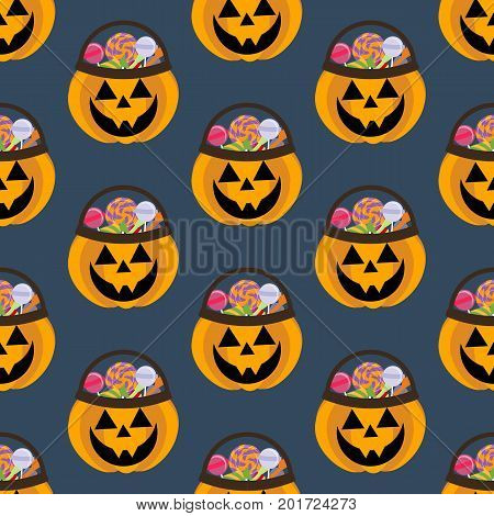Jack-o-lantern pumpkin halloween pattern on the blue background. Vector illustration