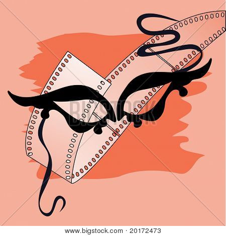 drama mask with film behind vector