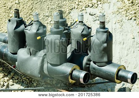 New district heating system pipeline safety valves prepared in the trench