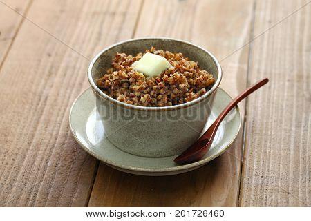 kasha, buckwheat porridge, russian traditional food isolated poster