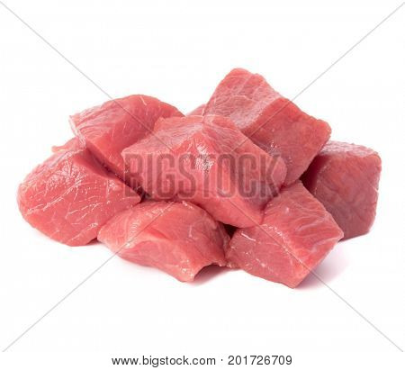 Raw chopped beef meat pieces isolated om white background cut out.