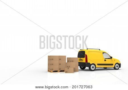 Palette with cardboard boxes and yellow van on white background. 3D illustration.