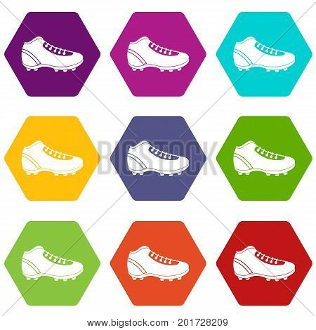 Baseball cleat icon set many color hexahedron isolated on white vector illustration
