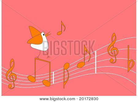 stylized bird singing vector