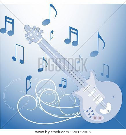stylized guitar with musical notes vector