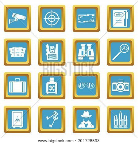 Spy tools icons set in azur color isolated vector illustration for web and any design