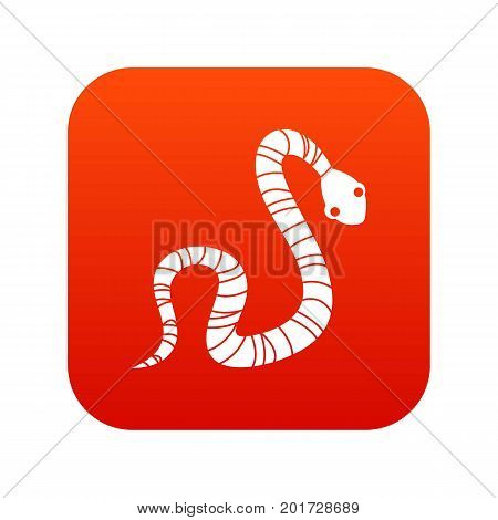 Striped snake icon digital red for any design isolated on white vector illustration