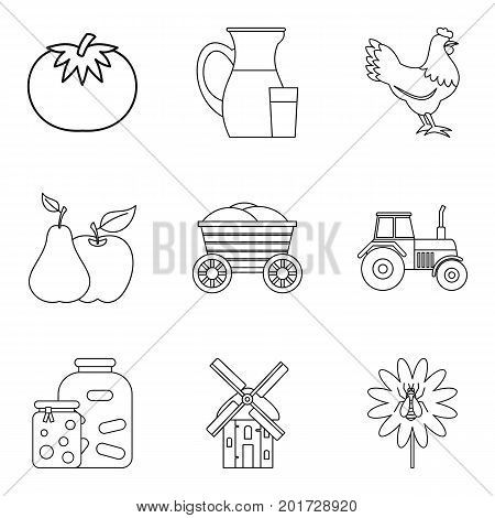 Cornfield icons set. Outline set of 9 cornfield vector icons for web isolated on white background