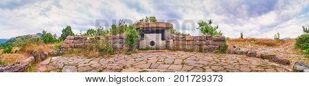 North Caucasus dolmen panorama. Prehistoric megalith monument
