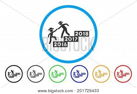 2017 Year Guys Help vector rounded icon. Image style is a flat gray icon symbol inside a blue circle. Additional color variants are grey, black, blue, green, red, orange.