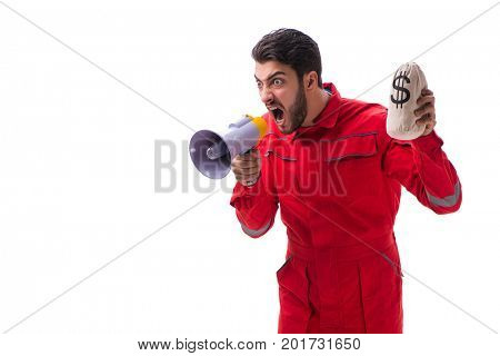 Young repairman with a megaphone and a money bag isolated on whi