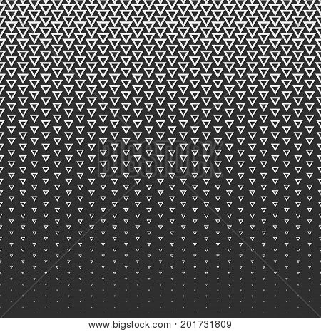 Vector halftone abstract background, black white gradient gradation. Geometric mosaic triangle shapes monochrome pattern. Simple backdrop design.