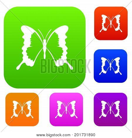 Swallowtail butterfly set icon in different colors isolated vector illustration. Premium collection