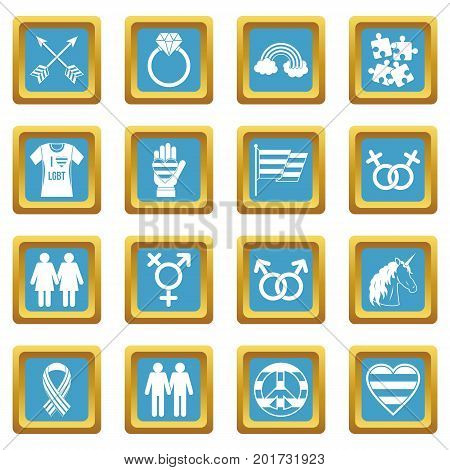 Lgbt icons set in azur color isolated vector illustration for web and any design